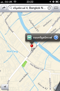 iOS 6 map showing Bangkok streets